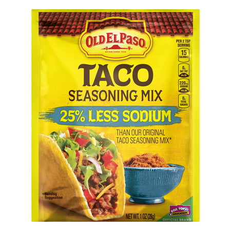(4 Pack) Old El Paso Taco 25% Less Sodium Seasoning Mix, 1
