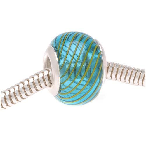 Hand Blown Trans. Aqua Blue Glass Yellow Stripes Euro Style Large Hole Bead