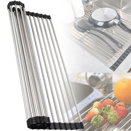 EEEKit Stainless Steel Over-the-Sink Flexible Roll-up Dish Drying Dryer Drainer Rack