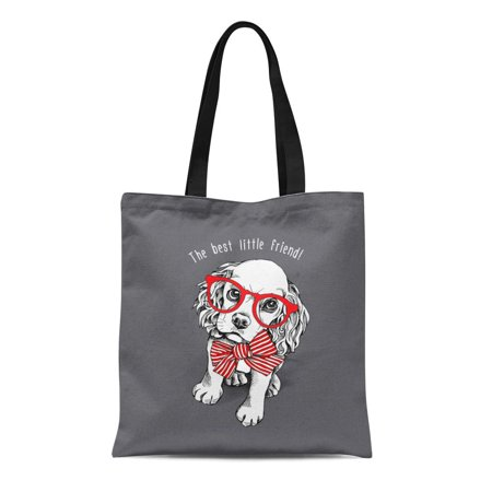 ASHLEIGH Canvas Tote Bag Puppy Cocker Spaniel in Red Striped Bow Glasses Durable Reusable Shopping Shoulder Grocery Bag