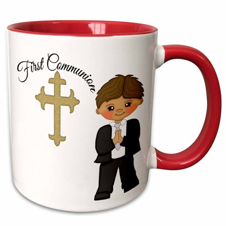 3dRose First Communion Cross With Little Boy Illustration - Two Tone Red Mug, 11-ounce