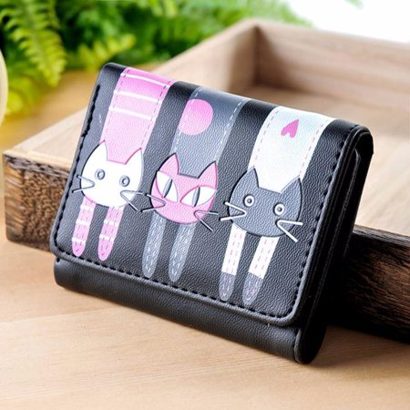 Women Cute Cat Pattern Coin Purse Short Wallet Card Holders Handbag