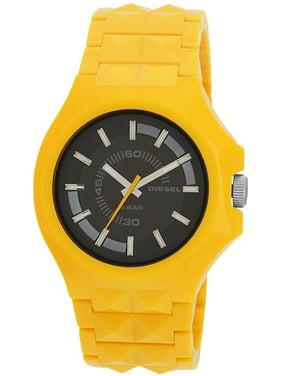 Diesel Men DZ1649 Round Black Dial Resin Yellow Band Watch