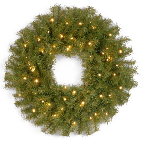 "National Tree Pre-Lit 24"" Norwood Spruce Wreath with 50 Battery-Operated Soft White LED Lights"