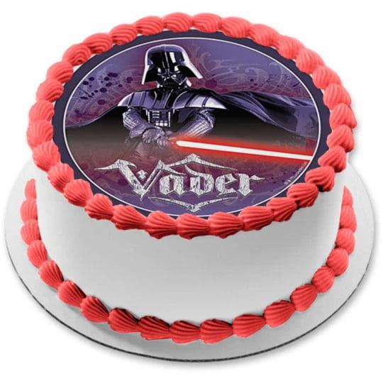 Darth Vadar Star Wars Personalised Edible Image REAL Icing Large Cake Topper