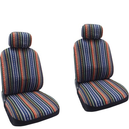 Baja Blue - Striped Saddle Blanket Front Seat Cover Pair For Honda (Honda Civic Front Cover)
