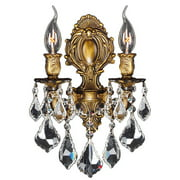 "Versailles Collection 2 Light Antique Bronze Finish Crystal Candle Wall Sconce 12"" W x 13"" H Medium"