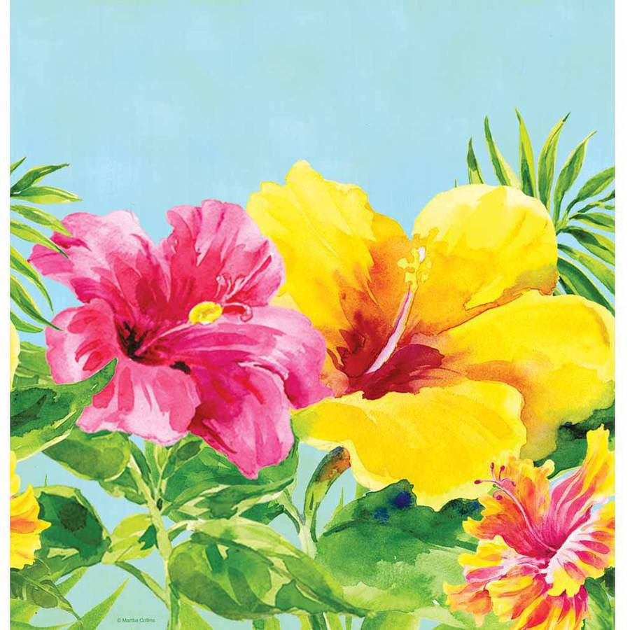 Heavenly Hibiscus Plastic Table Cover