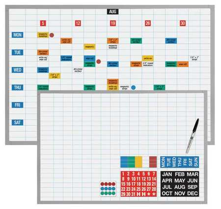 "Magna Visual Economy Planner Board Kit - 48"" x 36"" - Steel, Aluminum - White"