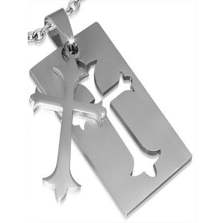 40mm Stainless Steel 2 Part Cut out Fleur De Lis Cross Tag Pendant with necklace