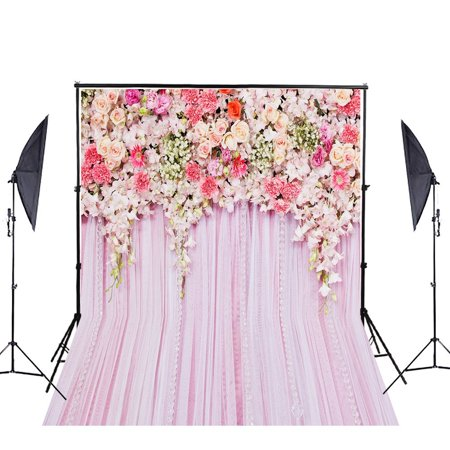 HelloDecor Polyster Wedding Photo Booth Backdrop 5x7ft Sparkling Foral Pink Curtain Photography Background Party Christmas Decoration Backdrops for Studio Props](Photo Booth Curtains)