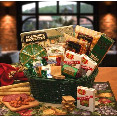 Gift Basket 810472 The Gourmet Choice with Green Wicker Tray