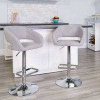 Flash Furniture Contemporary Brown Vinyl Adjustable Height Barstool with Rounded Mid-Back and Chrome Base