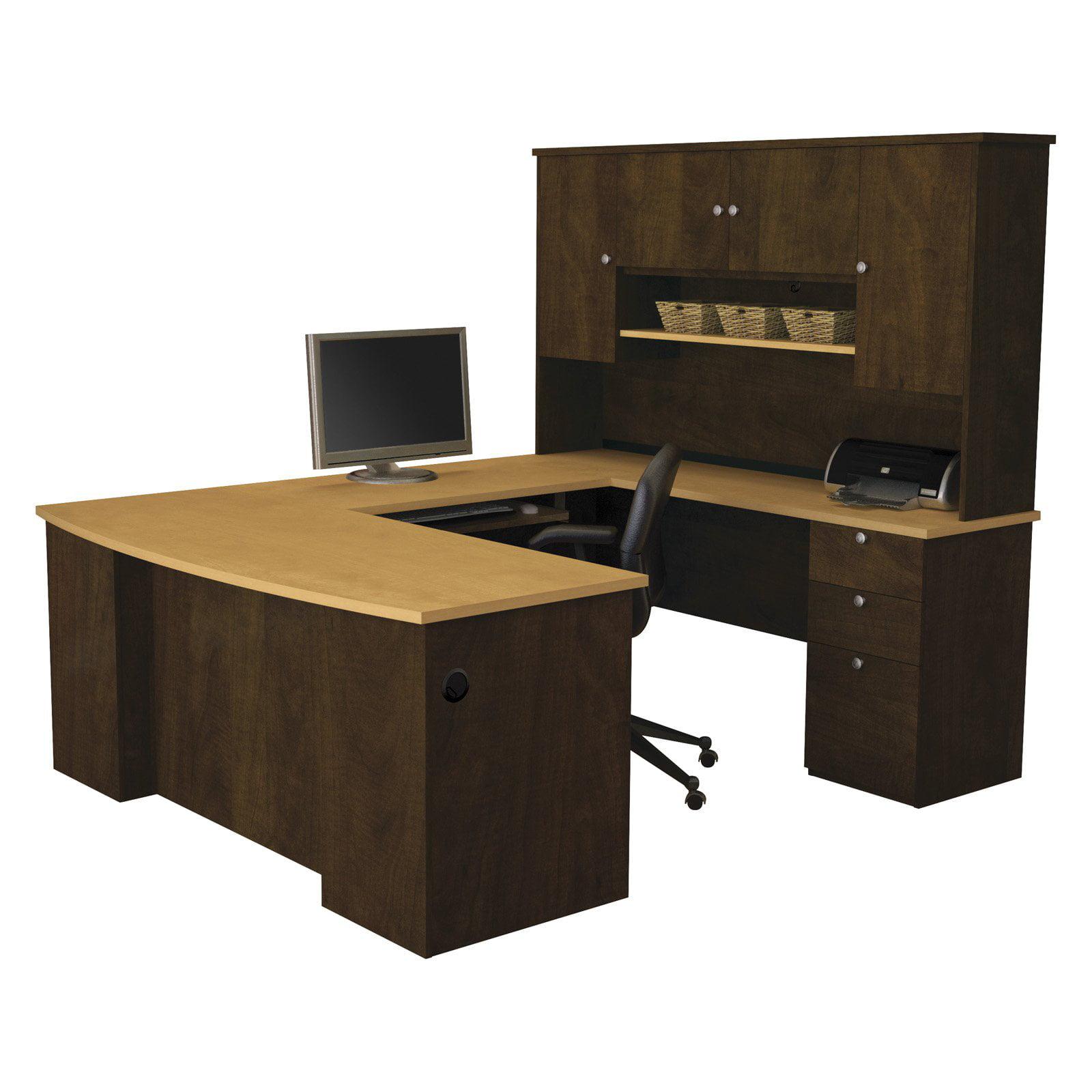 Bestar Manhattan U-shaped Workstation, Secret Maple and Chocolate