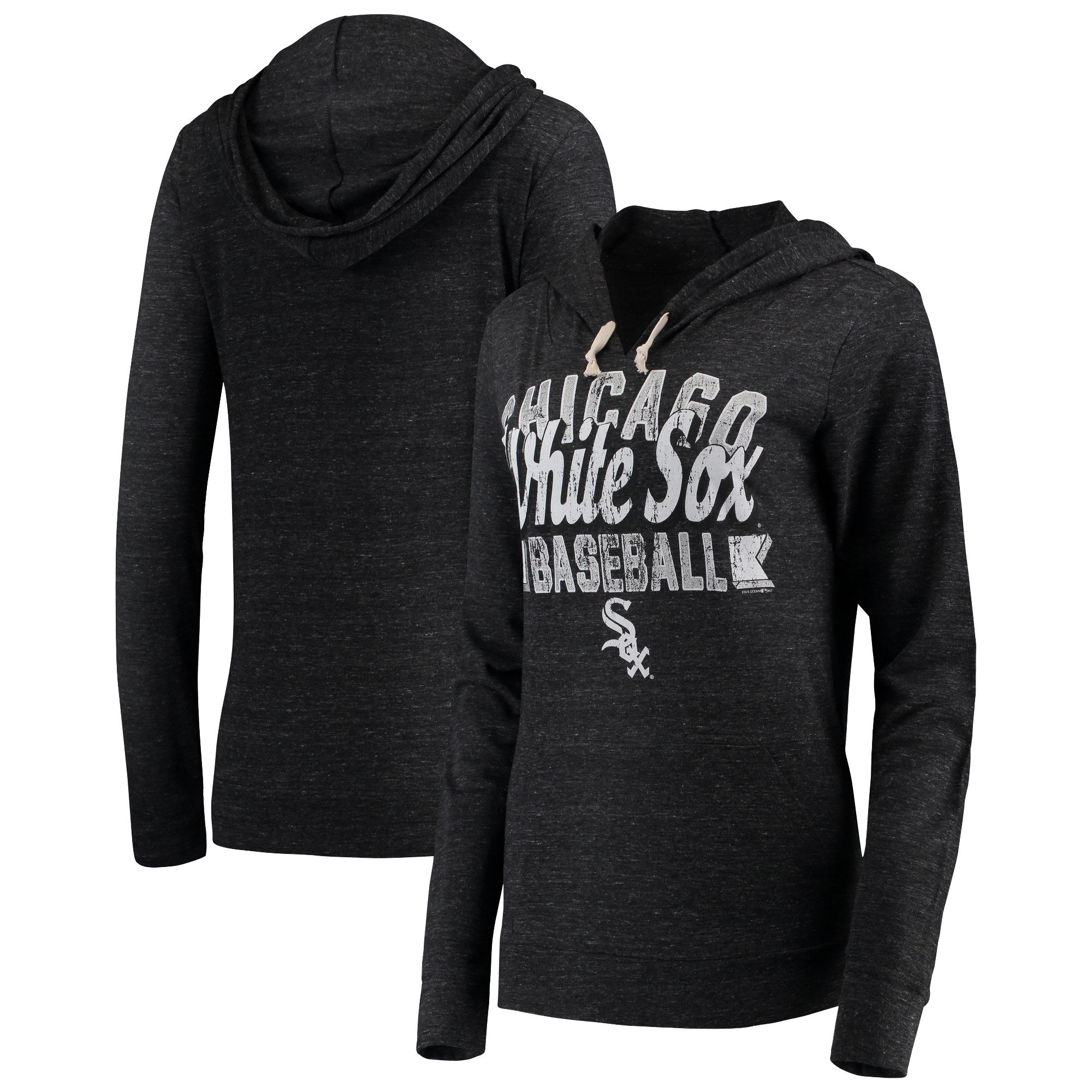 Chicago White Sox 5th & Ocean by New Era Women's Jersey Tri-Blend Pullover Hoodie - Black