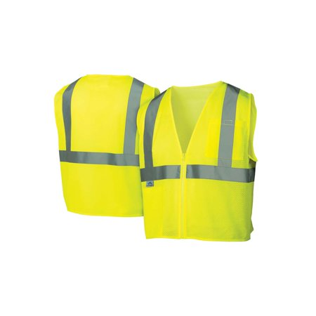 Pyramex Class 2 Hi-Vis Mesh Lime Safety Vests w/ Silver Stripes - Size 4X Large