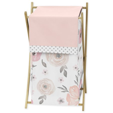 Sweet Jojo Designs Blush Pink, Grey and White Baby Kid Clothes Laundry Hamper for Watercolor Floral Collection by