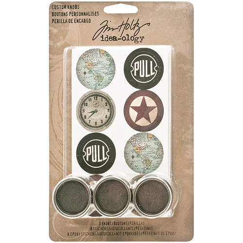 "Idea-Ology Custom Metal Knobs, 1.25"", 3pk, 8 Cardstock and 8 Epoxy Stickers"