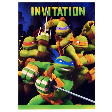 Teenage Mutant Ninja Turtles Party Invitations, 8ct - Ninja Turtle Party Invitations