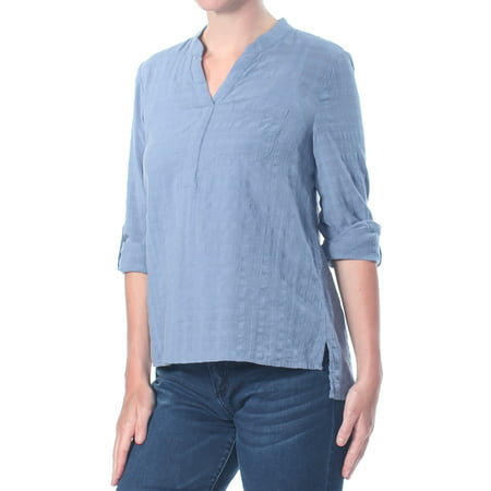Petites Roll (STYLE & COMPANY Womens Blue Textured  Roll Tab Top Petites  Size: S)