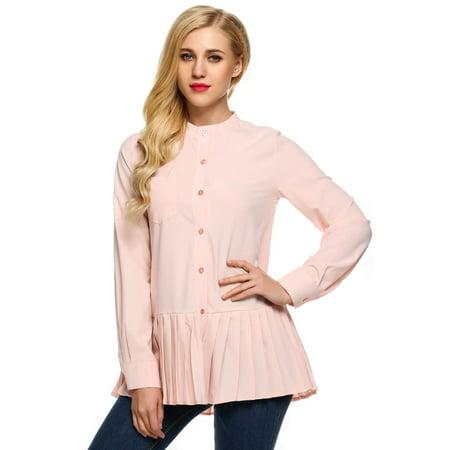 Cyber Monday Big Clearance ! Women O-Neck Long Sleeve Pleated Hem Shirt Tops RYSTE