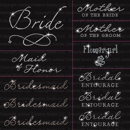 Rhinestone Wedding Iron (Jubilee Wedding Pack - 11pc Bride - Iron On Rhinestone)