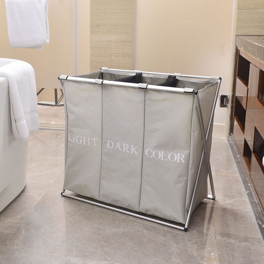 Zimtown Foldable Laundry Hamper 3 section 600D (oxford) Large Laundry Hamper