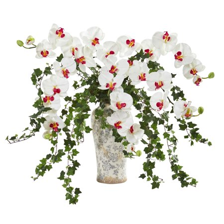 Nearly Natural  Phalaenopsis Orchid and Ivy White/ Pink Artificial Arrangement in Urn