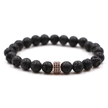 SHOPFIVE High Quality Men and Women Lava Stone Beads Bracelet Black Zircon Ball Charm Bracelets andamp; Bangles Friendship Bracelet Hot Sale (Friendship Bell)