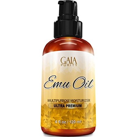 gaia purity emu oil - large 4oz - best natural oil for face, skin, hair growth, stretch marks, scars, nails, muscle & joint pain, and (Best Product For Acne Scars And Large Pores)