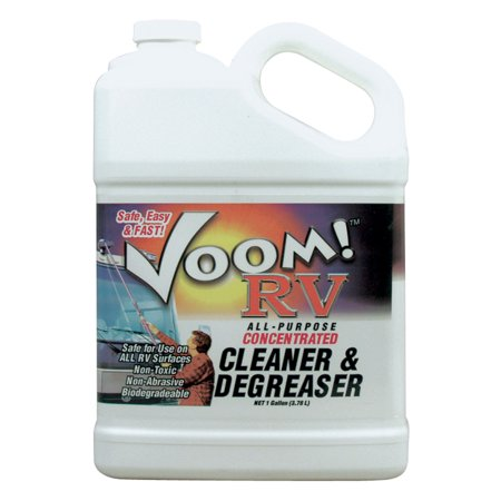 Wheel Masters WM11003 Voom! RV Cleaner and Degreaser - 1 Gallon Black streaks, bug stains, road tar and environmental film are a breeze to clean. This concentrated degreaser, spot remover, and multi-purpose cleaner works great in the home, car, or shop: melting away grease, oil, and other stains easily and quickly. It virtually cleans ALL surfaces! Voom! RV Cleaner and Degreaser cleans tile, linoleum, acrylic, vinyl, porcelain, fiberglass tubs, ceramic, appliances, stoves, counter tops, cabinets, pet stains, carpet, laundry, wheels and wheel liners.