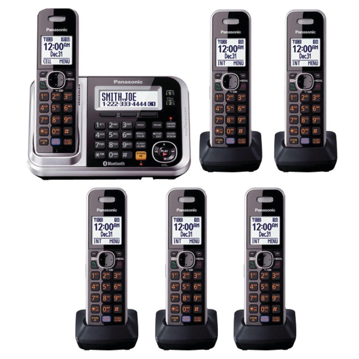 Panasonic KX-TG7875S 6 Handsets DECT 6.0 1-Line Bluetooth...