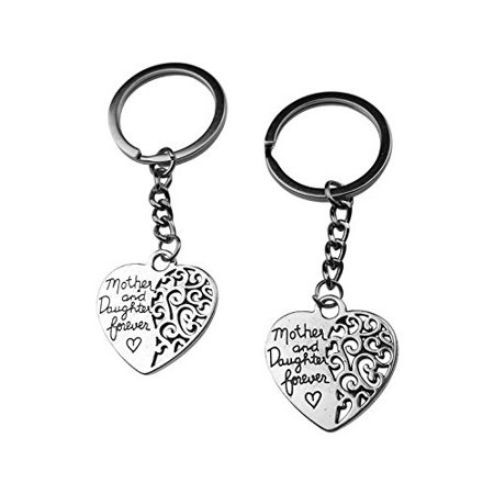 Art Attack Silvertone Heart Mother & Daughter Forever Love Matching BFF Best Friends Partners In Crime Bag Charm Pendant Keychain