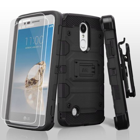 Kaleidio Case For LG Rebel 3 LTE L157BL (TracFone / Straight Talk) [Tank Armor] Rugged Holster [Belt Clip] Heavy Duty Shockproof Hybrid [Kickstand] Cover w/ Overbrawn Prying Tool [Black/Black]