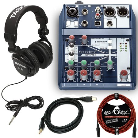 Soundcraft Notepad-5 Small-Format Analog Mixing Console with USB I/O Bundle with Tascam TH-02 Professional Recording Closed Back Studio Headphones and Accessories (3 (Best Headphones For Recording And Mixing)