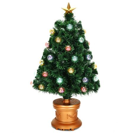 Costway 3Ft Pre-Lit Fiber Optical Firework Christmas Tree Gold Top Star ()