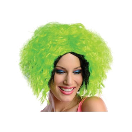 Adult Womens 80s Neon Chic Green Black Rave Dance Costume Wavy Wig (80s Neon Makeup)