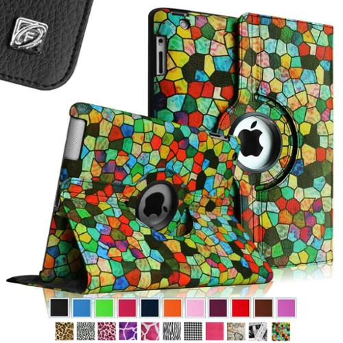Fintie Apple iPad 2/3/4 Case - 360 Degree Rotating Stand Smart Case Cover (Auto Wake/Sleep Feature), Stained Glass