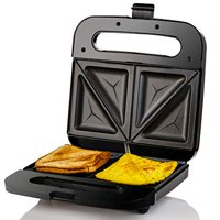 Ovente Electric Breakfast Sandwich Grill Maker Nonstick Cast Iron Toaster Plates, Portable 750 Watts Easy Cooking Grilling and Compact, Perfect for Grilled Cheese Egg Omelette Bread, Black GPS401B