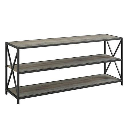 Wood Wash (Pemberly Row 60 Wide X-Frame Metal and Wood Media Bookshelf in Gray)