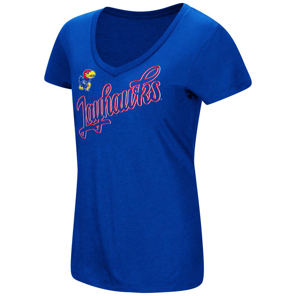 "Kansas Jayhawks Women's NCAA ""Big Sweet'"" Dual Blend V-neck T-Shirt"
