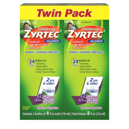 Zyrtec 24 Hr Children's Allergy Syrup, Grape, Twin Pack of 4 fl. oz