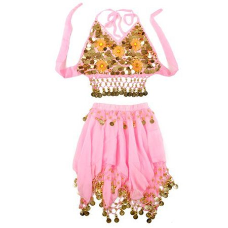 TopTie Kid's Tribal Belly Dance Girl Skirt & Halter Top Set, Halloween Costumes-Pink-M