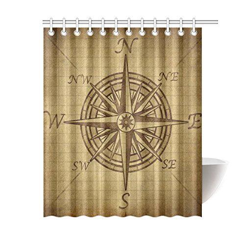 GCKG Vintage Compass Rose Shower Curtain Grunge Exploration
