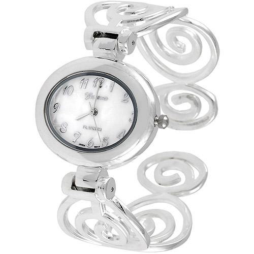 Brinley Co. Women's Polished Swirl Cuff Watch