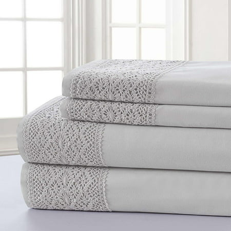 Sanctuary Crochet Yorkshire Lace Sheet Set - Silver/Gray Queen (Bed Sheets Lace Queen)