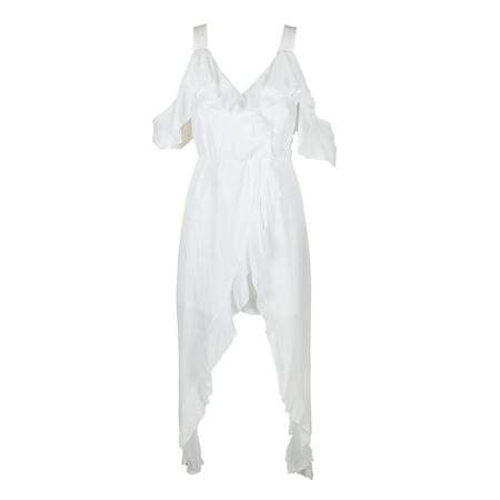 Xoxo Juniors White Ruffled Cold-Shoulder High Low Maxi Dress XS
