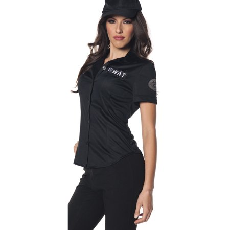 Swat Team Fitted Womens Police Force Adult Halloween Costume Shirt
