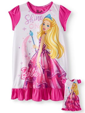 Barbie Toddler Girls Poly Sleep Gown With Doll Gown