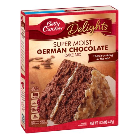 (2 pack) Betty Crocker Super Moist German Chocolate Cake Mix, 15.25 oz (German Chocolate Pound Cake)